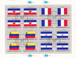 UNITED NATIONS, FLAGS,YUGOSLAVIA, FRANCE, VENEZUELA, EL SALVADOR, CANCELATION FDC, MINISHEET - Stamps