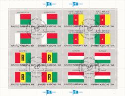 UNITED NATIONS, FLAGS,MADAGASCAR, UNITED REPUBLIC OF CAMERON, RWANDA, HUNGARY, CANCELATION FDC, MINISHEET - Stamps