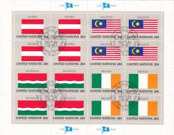 UNITED NATIONS, FLAGS,AUSTRIA, MALAYSIA, SEYCHELLES, IRELAND, CANCELATION FDC, MINISHEET - Stamps