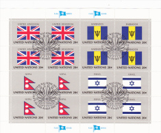 UNITED NATIONS, UNITED KINGDOM, BARBADOS, NEPAL, ISRAEL, CANCELATION FDC, MINISHEET - Stamps