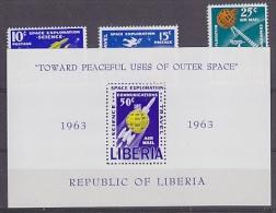 Liberia 1963 Space 3v + M/s  ** Mnh (15640) - Space