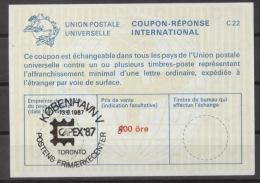 DANEMARK / DANMARK International Reply Coupon Reponse Antwortschein Svarkupon IAS La22A  800/400 öre  O CAPEX 87 - Postal Stationery