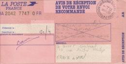 HAUTE SAVOIE -Thonon Les Bains- AR Recommandé - CAD-Franchise-Type A9- 1992 - Marcophilie (Lettres)