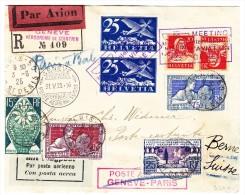 R-Flugbrief Genève-Paris 31.V.1925 Genf Nach Paris Zurückgesendet Nach Bern Mit AK-Stempel - Poste Aérienne