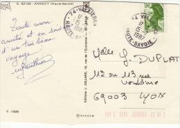 HAUTE SAVOIE -Valliéres- Carte Postale Pour Lyon - CAD-Type A9- 1987 - Marcophilie (Lettres)