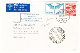 1.Flug 1940.III.18 Locarno Roma - Brief Nach Winterthur - Abart Verschobener Druck Auf Zu#F10 - Poste Aérienne
