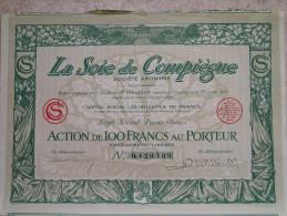 Magnifique Action Décorée. La Soie De Compiègne. Action De 100 Francs - Textile