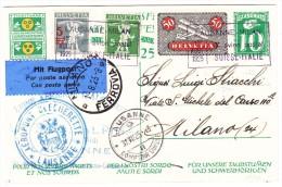 """1.Flug Lausanne-Milan 31.VII.25 Lausanne Auf """"Taubstumen"""" Karte Nach Mailand AK-Stempel - Poste Aérienne"""