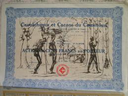 Magnifique Action Décorée. Caoutchoucs Et Cacaos Du Cameroun. Action De 100 Francs - Afrique