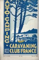 Auto-Camping-Caravaning/ Revue mensuelle/N�33/ Club de France/Publicit�s Caravanes /1952