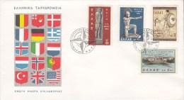 Greece FDC Cover Lettera 1962 NATO Krieger Mit Schild Hoplit Complete Set - FDC