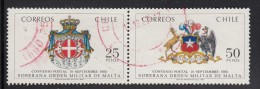 Chile Used Scott #633a Pair 25p Arms Of Malta, 50p Arms Of Chile - 1st Anniversary Postal Agreement - Chili