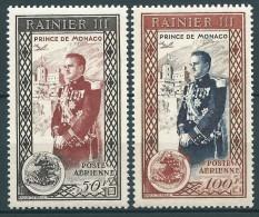 Monaco - 1950  - Avènement  Rainier III - PA  N° 49/50   -  Neufs ** - MNH - Poste Aérienne