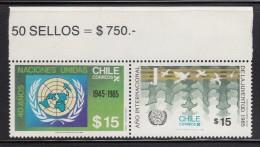 Chile MNH Scott #695a Pair 15p International Youth Year, 40th Anniversary United Nations - Chili