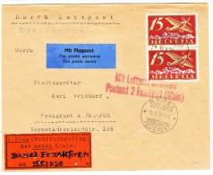Flugpost Drucksache 15.V.26 Basel Nach Frankfurt - Poste Aérienne