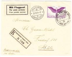 LAUSANNE 28.IX.24 Comptoir Suisse Auf R-Flugpost Brief Nach Basel - Poste Aérienne