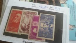 LOT 218259 TIMBRE DE  FRANCE NEUF** N�436 A 439 VALEUR 55 EUROS