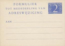 Netherlands Postal Stationery Ganzsache Entier Adresseänderungskarte 2 C Ziffer (104 X 74 Mm) Unused (2 Scans) - Postal Stationery