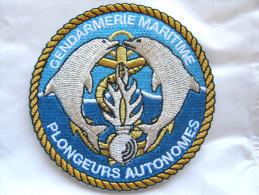 RARE INSIGNE TISSUS PATCH GENDARMERIE NATIONALE GENDARMERIE MARITIME PLONGEURS AUTONOMES (VELCRO)