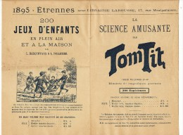 PARIS (75006) / PUBLICITES / LIBRAIRIE LAROUSSE 17, Rue Montparnasse Dépliant D' Etrennes 1895 Avec BULLETIN DE COMMANDE - Publicités