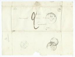 Papier Avec Cachet De Péronne Et Cachet De Guiscard 1847 - Storia Postale