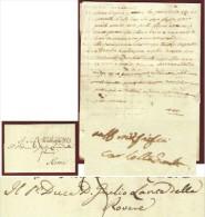 1849 - AUTOGRAFO DI CARLOTTA LANTE MONTEFELTRO DELLA ROVERE SU LETTERA AL PADRE - Other Collections