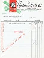 """Facture 1954 PONDERS END MIDDLESEX - NUCKEY, SCOTT & Co. Ltd. -  """"WARRIOR"""" Taps & Dies - Etats-Unis"""