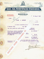 Lettre 1930 MONZA -  Soc. An. FELTRIFICIO ITALIANO - Fabbrica Feltri Lana - Italy