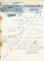 Lettre 1926 MONZA - G. B. VALERA & RICCI - Fabbriche Di Cappeli Di Pelo E Di Lana - Italie