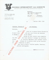 Lettre 1952 LIESTAL (SUISSE) -  SCHWEIZ. SPRENGSTOFF A.G. CHEDDITE - Fabrique D'explosifs Cheddite - Switzerland