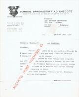 Lettre 1952 LIESTAL (SUISSE) -  SCHWEIZ. SPRENGSTOFF A.G. CHEDDITE - Fabrique D'explosifs Cheddite - Suisse