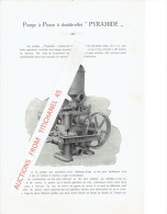 """Document Publicitaire Sur La POMPE à PISTON à Double-effet """"PYRAMIDE"""" + Lettre De 1923 ISBECQUE, TODD & Cie Fourniss - Non Classés"""