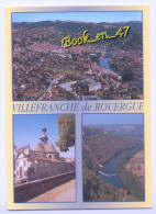 {64905} 12 Aveyron Villefranche De Rouergue , Multivues ; Vue Générale , Place Napoléon , Saut De La Mounine - Villefranche De Rouergue