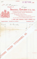 Facture 1900 LONDON - SHACKELL, EDWARDS & Co Ltd - Printing Ink And Varnish Manufacturers - Royaume-Uni
