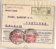 Raccomondata Registered 1921 Cover MILANO (Centro) To Belgium - 1900-44 Victor Emmanuel III.
