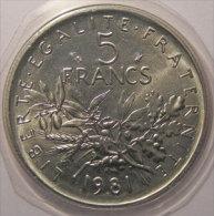 Monnaie fran�aise, Semeuse, 5 Francs 1981, FDC, Gad: 771