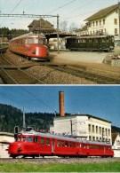 """SUISSE - COUVET ( Val-de-Travers) Et PALEZIEUX - Automotrices """"CHURCHILL"""" - Lot De 2 CPM - Détails 2ème Scan - Trains"""