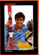 AFZ-21 Joël Gaspoz, Né En 1962 à Morgins, Avec Signature Autographe, Victoires En Coupe Du Monde, Skis Salomon Non Circ. - VS Valais