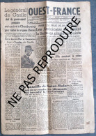 OUEST-FRANCE LUNDI 21 AOUT 1944 - 1 exemplaire complet 4 pages
