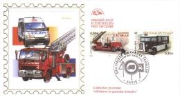 France  - 1er Jour -  ´Utilitaires Et Grandes Echelles´ -  Camion A Echelle  -  Véhicule De Police  -   FDC - Trucks