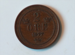 SUEDE 2 ORE 1877 - Suède