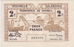 NOUVELLE CALEDONIE. Trésorerie De Nouméa. 2 Francs. Type I - - Nouméa (New Caledonia 1873-1985)