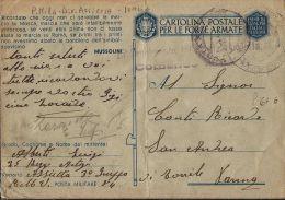 FRANCHIGIA WWII POSTA MILITARE 84 1943 PARTANNA DIV ASSIETTA X TORRILE - Military Mail (PM)