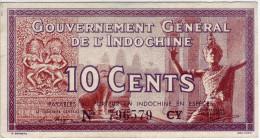 Banque De L´Indochine. Gouvernement Général De L´Indochine - Billet De 10 Cents - - Indochine