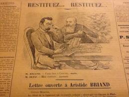 1910 Journal Nationaliste LE MOUSQUETAIRE / LETTRE OUVERTE � Aristide BRIAND / LA LIGUE DE LA ROSE BLANCHE