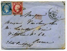 YT N�24+22 sur lettre de PARIS pour ETATS PONTIFICAUX / Etoile N�4 Rue d'Enghien / Au dos ROMA VIA DI MARE / 1864