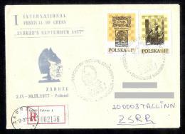 Chess Schach Echecs International Festival 1977 Zabrze Postmark On Souvenir Cover + Chess Set Registered CKM 7734 - Schaken