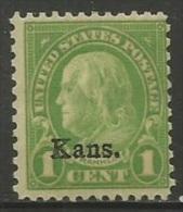 US  1929  Sc#658  1c Kansas Overprint   MNH**  2016 Scott Value $5 - Unused Stamps
