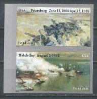 USA. Scott #  4910-11c, MNH Pair Imperforate. Civil War The Battle Of Petesburg. 2014 - Etats-Unis