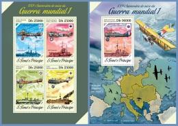 st14208ab S.Tome Principe 2014 Airplane Ship World War I WW1 2 s/s